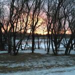 Sunrise over the frozen Red River