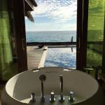 Premium Beach Villa bathtub and view