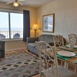Ocean front Suite with view of beach and ocean in the window