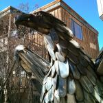 One of two cool metal eagles at the lodge