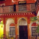The Courtyard at Riad Naya showing room doors