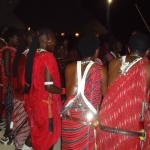 Masai men doing their traditional dance at the hotel