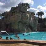 This is the warmer pool with the slide, also the busiest!