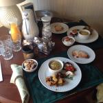 Breakfast delivered to the room
