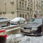 The quite street Skaterny Pereulok, where is located Arbat House