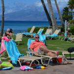 Pool and beach with great view of Molokai in distance