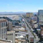 Shot of The Strip, facing south, with Planet Hollywood on the left, from Eiffel Twr at Paris.