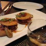 Fried green tomatoes with pulled pork - delish!