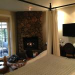 Beautiful room/suite with fireplace and french doors to private patio
