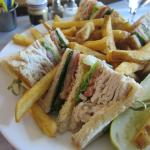 Turkey club with fries. Yum