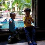 The kids were excited upon arrival at the hotel