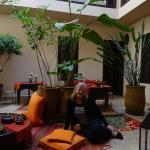 the light-filled, colorful, and inviting courtyard of Riad Boussa