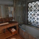 The bathroom overlooking the room