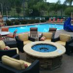 The pool and fire pit