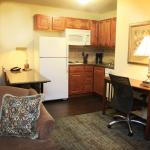 One Bedroom Queen Suite Kitchen & Work Area