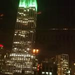 Rooftop bar view of Empire State on St Patrick's Day