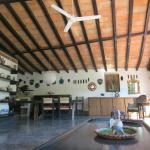 Spacious wood beam ceilings about