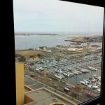 View from the 15th floor standard room of The Golden Nugget in Atlantic City. Farley Marina and