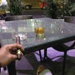 Jamison and cigars outside on the hotel patio (it was freezing)