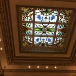 Stained glass ceiling in the lobby.