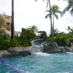 the water slide in the family pool area