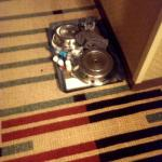 Room service tray spent the night in the hallway