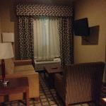 Living room portion of the suite with flat panel TV