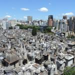 View of Recoleta Cemetery from hotel rooftop pool area
