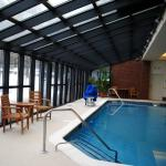 Glass-enclosed indoor pool