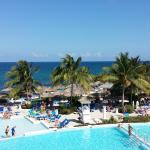 View of the Main Pool and Caribbean Sea from the center of the resort