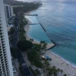 view of the beach from the 36th floor balcony