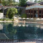 View of pool and upper restaurant