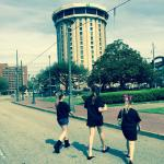 Walking from their Dance Competition to our favorite hotel!!