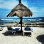 """View from the """"swing bar"""" down on the beach in front of Akumal. Paradise!"""