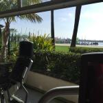 """""""Patio"""" of the fitness room and some cardio equipment."""
