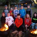 Our hockey team enjoying a fire and some s'mores