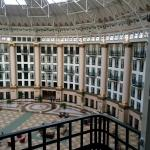 Inside view from room of domed lobby/commons