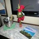 Flowers and wine as part of the upgrade to suite.