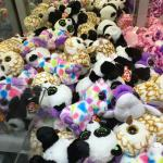 Row after row of fun stuffed toys in the crain games.