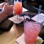 His and Her drinks at the bar down stairs.