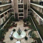 View of the lobby from the glass elevator