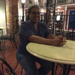 Relaxing at a table in the Bourbon Street area