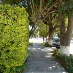 wide sidewalks with two parks on either side of the house.