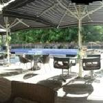 Outdoor bar and pool area