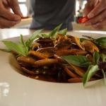 Cooking Class:  Locally caught clams in a spicy lemongrass sauce.
