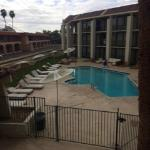 Pool view from 2nd floor. Pool on southeast rear of the motel.