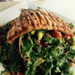 Grilled salmon Miso salad -- over dressed