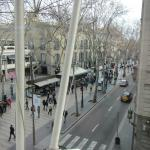 Looking out the window of a corner room at Ramblas