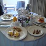 Eggs benedict room service breakfast