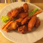 Delicious buffalo wings from room service